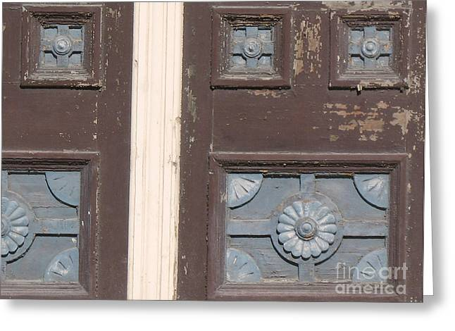 Slightly Imperfect Double Doors. 19th Century Wood Carving Greeting Card