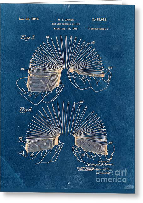 Slinky Toy Blueprint Greeting Card by Edward Fielding