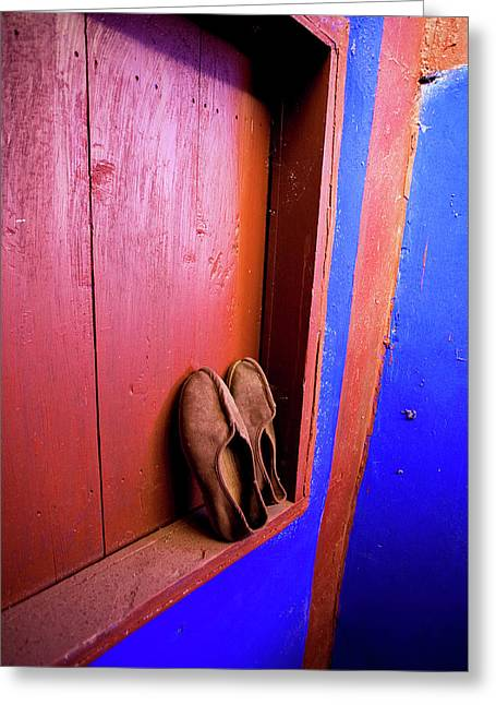 Slippers Of A Buddhist Monk At The Lama Greeting Card