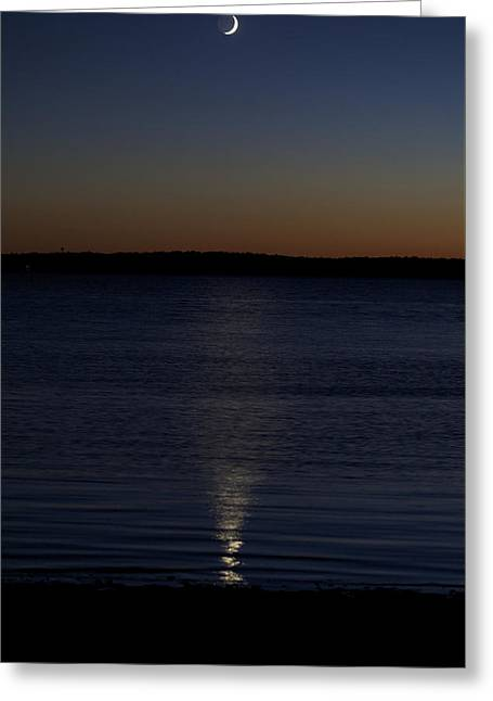Sliver - A Crescent Moon On The Lake Greeting Card by Jane Eleanor Nicholas