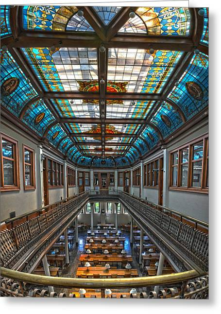 Slocum Hall Romanesque Arcade And Stained-glass Skylight Ohio Wesleyan University Greeting Card by Brian Mollenkopf