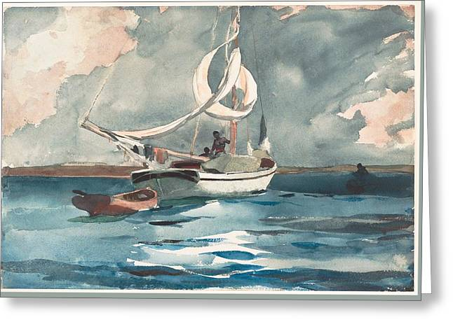 Sloop  Nassau Bahamas Greeting Card by Winslow Homer