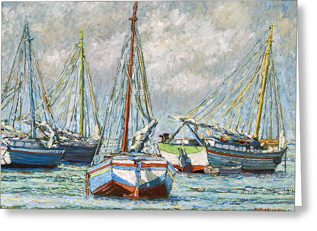 Sloops At Rest Greeting Card