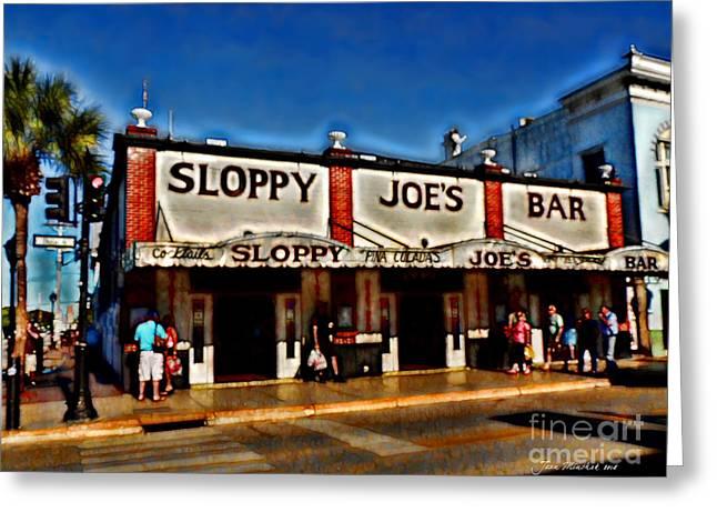 Sloppy Joe's Bar Greeting Card by Joan  Minchak