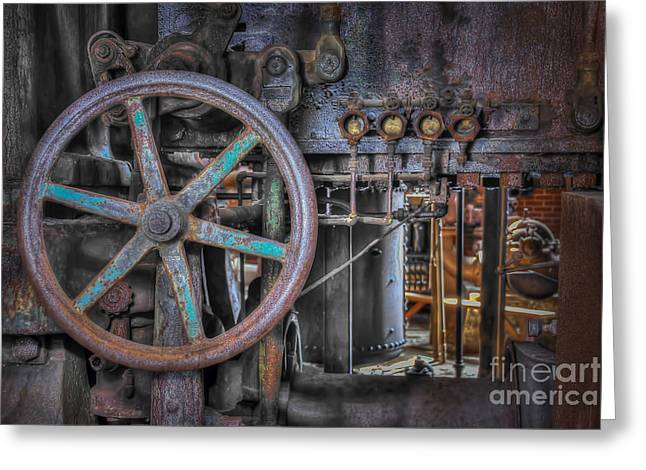 Greeting Card featuring the photograph Sloss Blower Valve by Ken Johnson