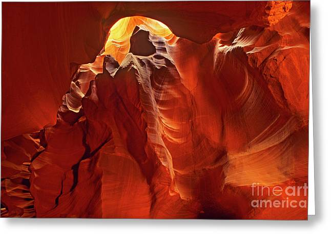 Slot Canyon Formations In Upper Antelope Canyon Arizona Greeting Card
