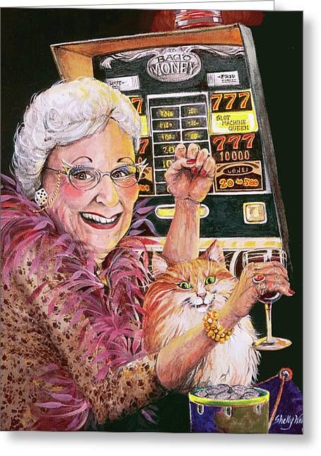 Machine Paintings Greeting Cards - Slot Machine Queen Greeting Card by Shelly Wilkerson