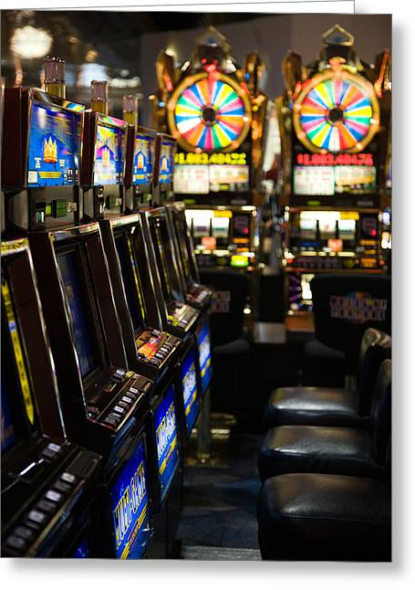 Slot Machines At An Airport, Mccarran Greeting Card by Panoramic Images
