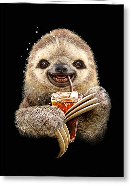 Sloth And Soft Drink Greeting Card