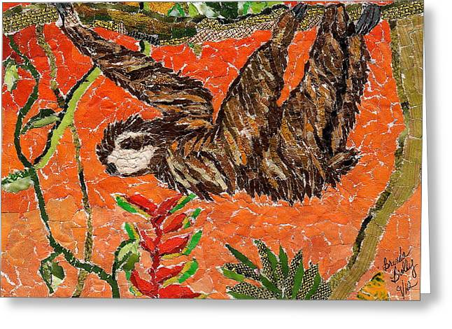 Sloth Just Hangin  Greeting Card by Brenda Brolly