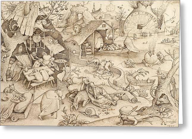 Sloth Pieter Bruegel Drawing Greeting Card by