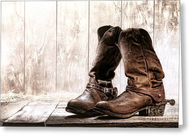 Slouch Cowboy Boots Greeting Card by Olivier Le Queinec