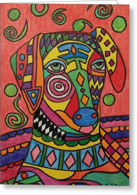 Sloughi Dog Greeting Card by Carol Hamby
