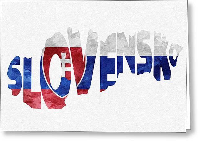 Slovakia Typographic Map Flag Greeting Card by Ayse Deniz