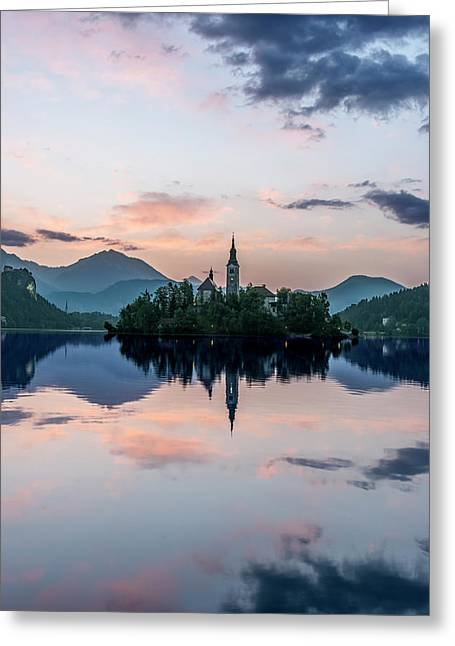 Slovenia, Bled, Lake Bled Dawn (large Greeting Card by Rob Tilley