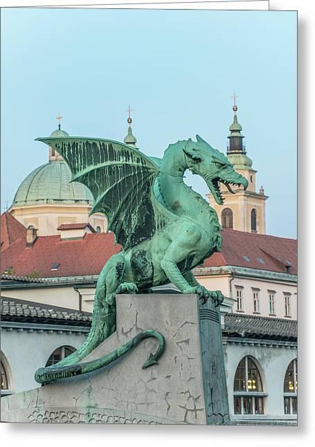 Slovenia, Ljubljana, Dragon Bridge Greeting Card by Rob Tilley