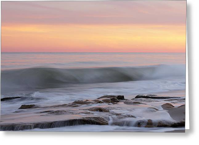 Slow Motion Wave At Colorful Sunset Greeting Card