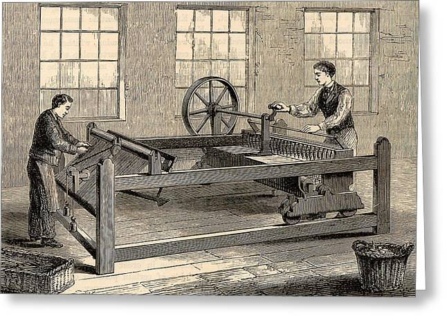 Slubbing-billy To Spin Carded Wool Greeting Card by Universal History Archive/uig