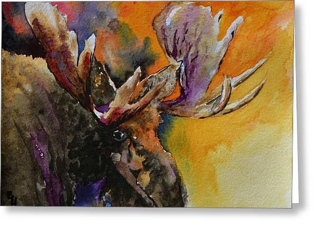 Sly Moose Greeting Card by Beverley Harper Tinsley