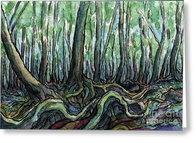 Sm005 Creepy Forest Greeting Card by Kirohan Art