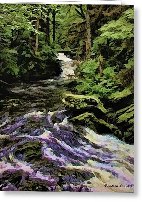 Small Alaskan Waterfall Greeting Card by Bellesouth Studio
