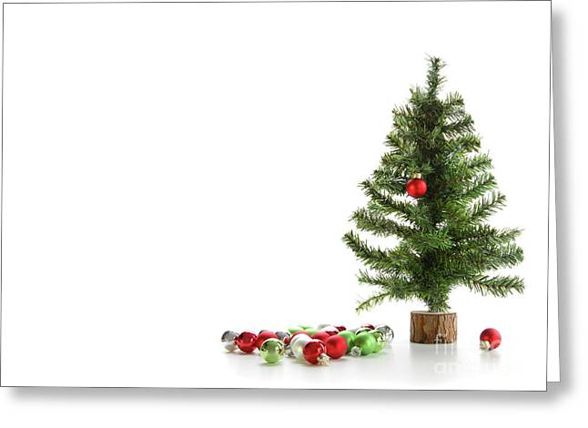 Small Artifical Tree With Ornaments On White Greeting Card by Sandra Cunningham