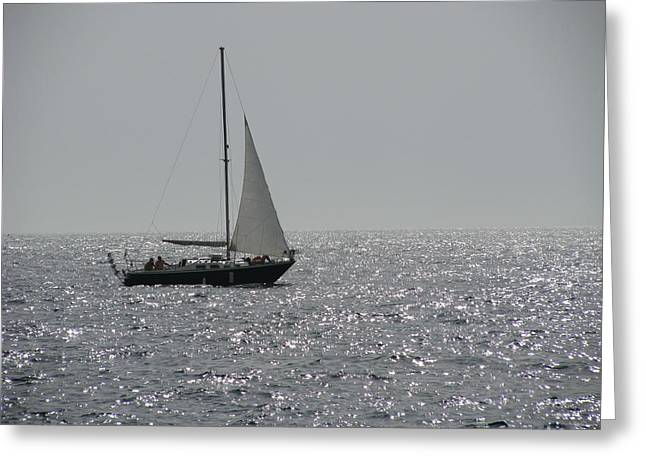 Small Boat At Sea Greeting Card