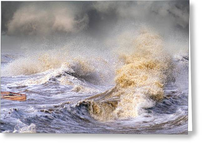 Small Boat In Storm Greeting Card