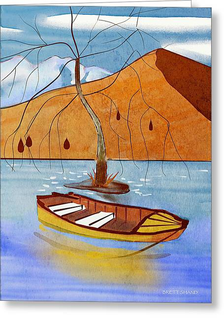 Small Boat On Lake Water Greeting Card