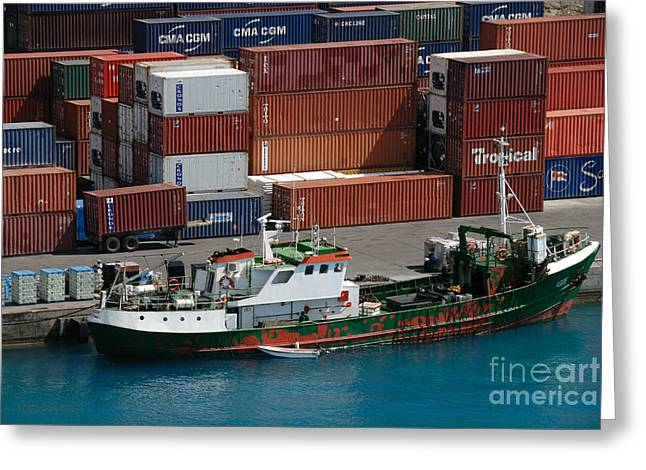 Small Boat With Cargo Containers Greeting Card by Amy Cicconi