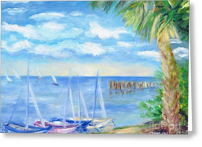 Small Boats On Water Greeting Card by Barbara Anna Knauf