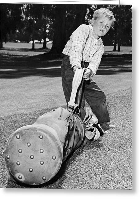 Small Boy Totes Heavy Golf Bag Greeting Card by Underwood Archives
