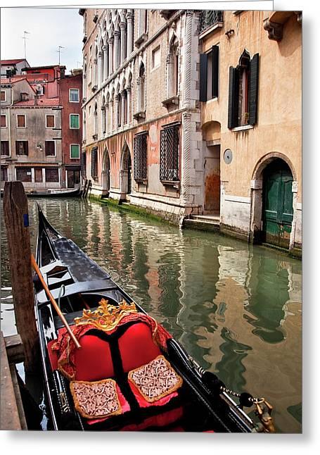 Small Canal Bridge Buildings Gondola Greeting Card