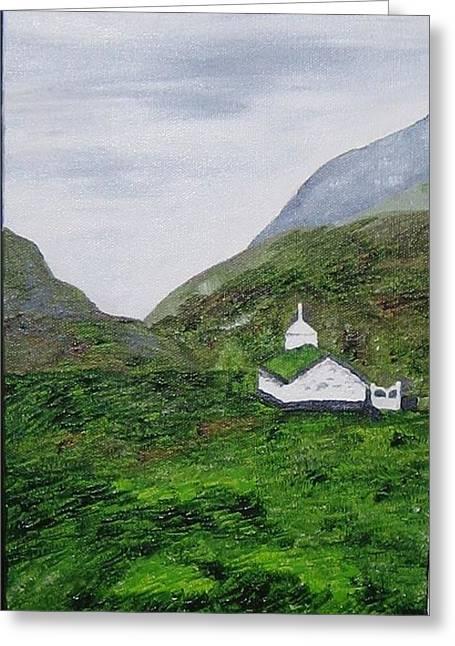 Greeting Card featuring the painting Small Church by Susanne Baumann