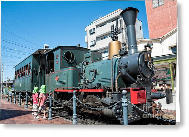 Small Cute Steam Engine Replica - A Japanese Marvel Greeting Card by David Hill