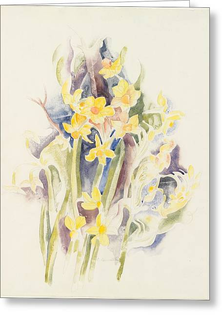 Small Daffodils Greeting Card by Charles Demuth