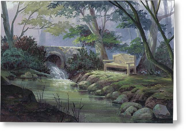 Greeting Card featuring the painting Small Falls Descanso by Michael Humphries