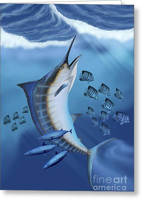 Small Fish Scatter As A Huge Blue Greeting Card by Corey Ford