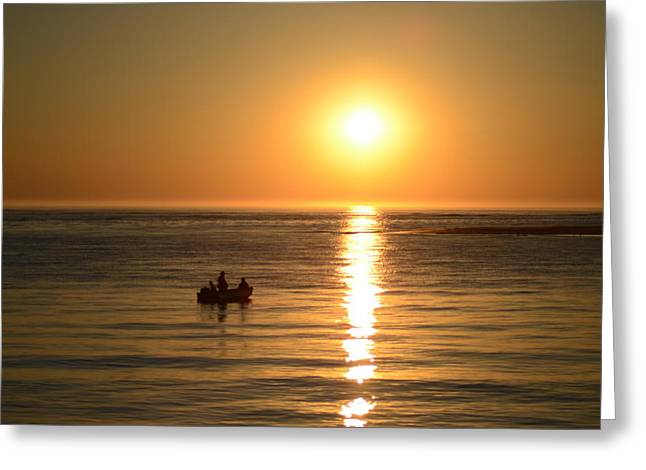Small Fishing Boat At Sunrise Greeting Card by Bill Cannon
