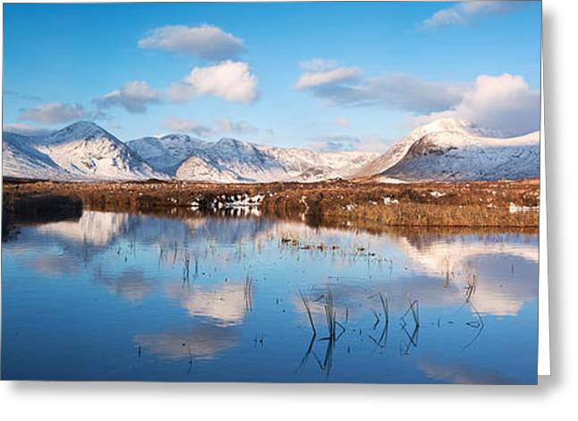 Small Loch In The Scottish Highlands With Black Mount Reflected Greeting Card by Matteo Colombo