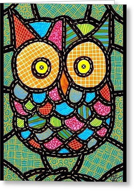 Small Quilted Owl Greeting Card by Jim Harris