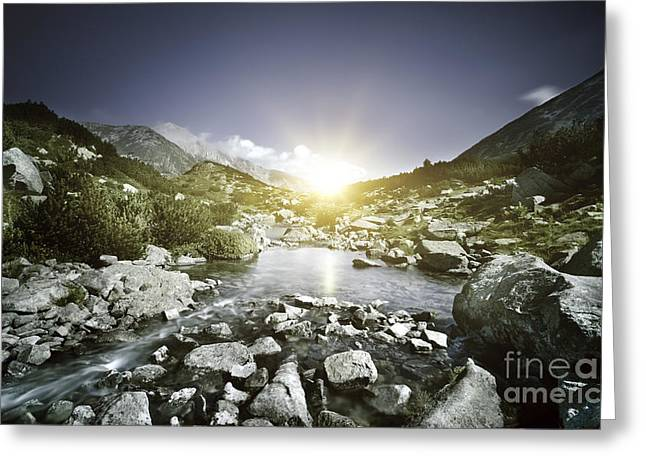 Small River Flowing Over Large Stones Greeting Card