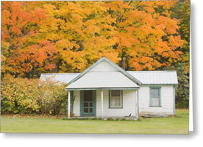 Small Sporting Camp In Fall Mountains Of Maine Greeting Card
