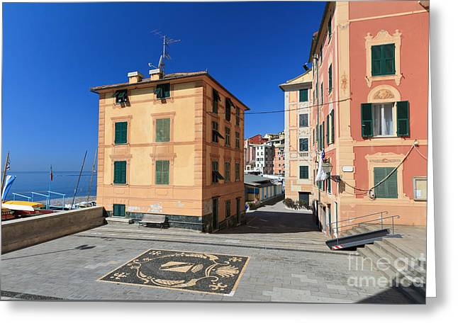 Greeting Card featuring the photograph small square in Sori by Antonio Scarpi