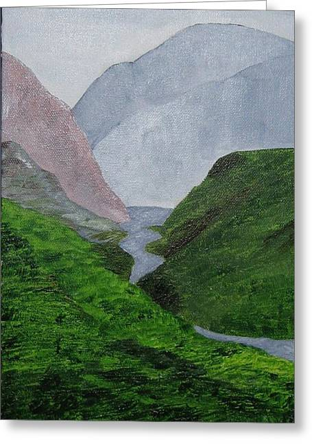 Greeting Card featuring the painting Small Stream In The Hills by Susanne Baumann