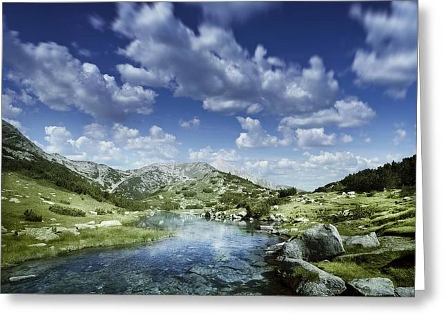 Small Stream In The Mountains Of Pirin Greeting Card by Evgeny Kuklev