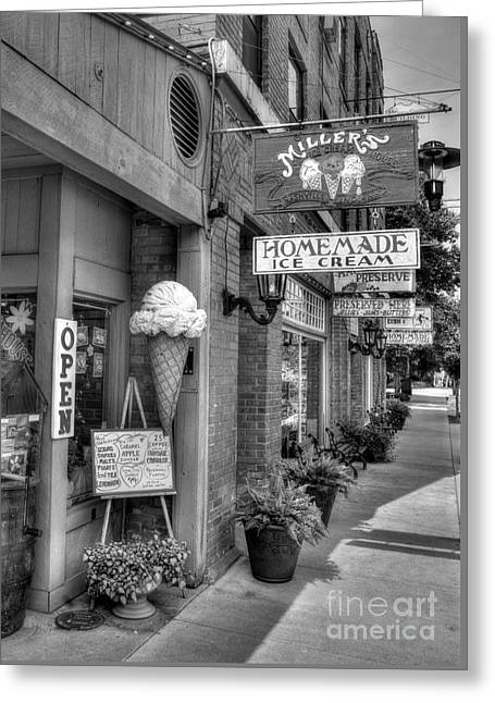 Small Town America 2 Bw Greeting Card by Mel Steinhauer