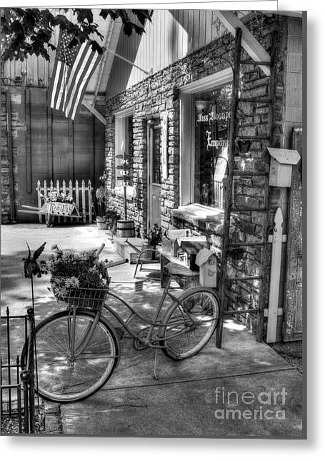 Small Town America Bw Greeting Card by Mel Steinhauer