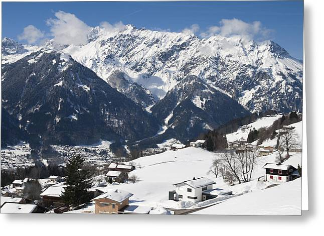 Small Town In Austria In Winter - Beautiful Mountain Landscape Greeting Card by Matthias Hauser