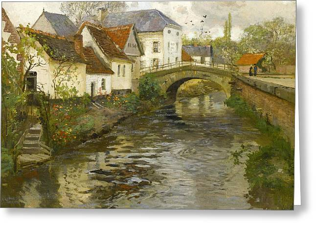 Small Town Near La Panne Greeting Card by Frits Thaulow